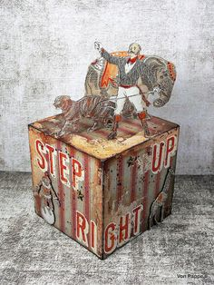 Calico Craft Parts: Step Right Up! - Artist Trading Block - by Claudia Altered Cigar Boxes, Altered Tins, Parts Of The Letter, Chalky Finish Paint, Crackle Painting, Star Stickers, Mixed Media Artists, Medium Art, I Fall In Love