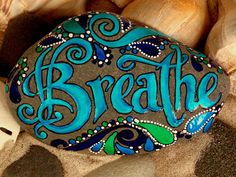 Breathe.../ Painted Sea Stone / Sandi Pike by LoveFromCapeCod