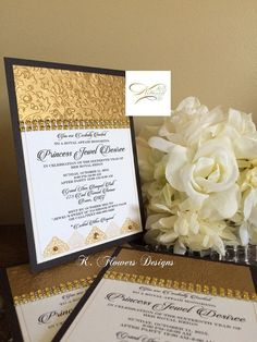 Gold Black and White Invitations/Gold and Black by KFlowersDesigns