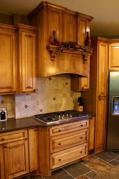 Glazed Maple Kitchen ~ that is the slate flooring we're putting in our kitchen!
