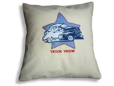 Morris Minor cushion/pillow embroidered and by Jillygriffindesigns