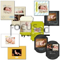 Photoshop Templates for Photographers:  http://focused.whcc.com/store/view-all/mk-classic-photography-baby-bliss-card-set.html