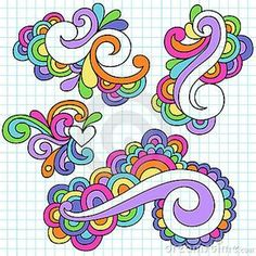 Groovy Notebook Doodle Design Elements Vector Stock Vector - Illustration of pattern, paisley: 12389142 Doodle Art, Tangle Doodle, Zen Doodle, Doodle Drawings, Doodle Frames, Doodle Sketch, Doodles Zentangles, Doodle Designs, Doodle Patterns