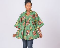 Ankara Tops, Big Girl Fashion, Flare, Layers, Bell Sleeve Top, Tunic Tops, Trending Outfits, Sleeves, Etsy