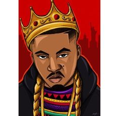Image via We Heart It #art #cartoon #crown #nas #rap #trill #instagram #mcfreshcreates
