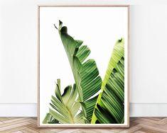 Green Palm Leaf Watercolor Print, Tropical Wall Art, Botanical Print Set of Monstera Print, Palm Leaf Print, Banana Leaf Print Green Wall Art, Leaf Wall Art, Leaf Art, Leaf Prints, Wall Art Prints, Tropical Art, Tropical Leaves, Tropical Prints, Pink Leaves