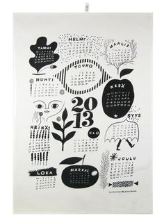 Calendar 2013 tea towel by Kauniste. Illustration by Sanna Mander. Web Design, Nordic Design, Design Art, Print Design, Print Print, Love Illustration, Graphic Design Illustration, Design Illustrations, Kalender Design