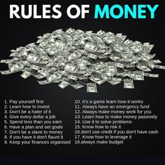 finance investing Rules Of Money Financial Quotes, Financial Tips, Financial Literacy, Financial Peace, Money Tips, Money Saving Tips, Saving Ideas, Investment Tips, Retirement Investment