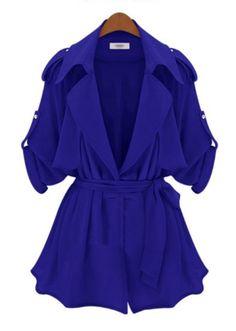 Blue Long Sleeve Epaulet Belt Trench Coat : amazing price!