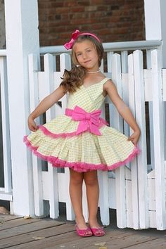 Ooh! La, La! Couture Yellow Gingham Sundress Kids Summer Dresses, Baby Girl Party Dresses, Girls Formal Dresses, Little Girl Dresses, Baby Dress, Flower Girl Dresses, Baby Girl Patterns, Girl Dress Patterns, Kids Outfits Girls