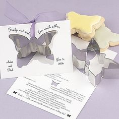 Butterfly-shaped cookie cutters come with personalized cards. The white cards feature 'Truly Cut Out For Each Other' above the cut-out, your names and wedding date are printed at the bottom and a sugar cookie recipe is printed inside. Choose a lettering style and ink color for printing on the front. The inside recipe is printed in black as shown. Attach cookie cutters to the cards with colorful chiffon ribbon (sold separately). Favors are shipped unassembled. Instructions are included.