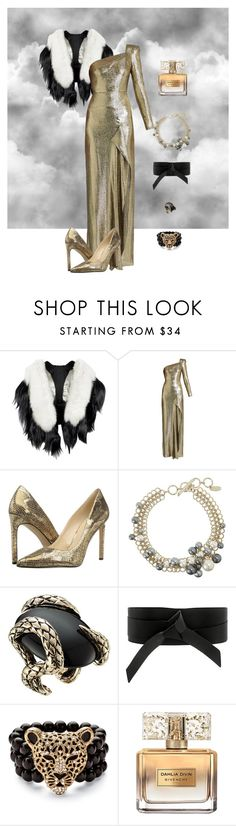 """""""New Years"""" by aroamoda ❤ liked on Polyvore featuring Fearfur, Roland Mouret, Nine West, Lanvin, Roberto Cavalli, IRO, Palm Beach Jewelry and Givenchy"""