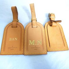 Auth LOUIS VUITTON Leather ID Luggage Name Tag 3 set lot Made in France