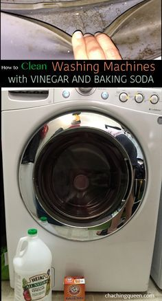 Great tutorial on how to clean your washing machine with just baking soda and vinegar. Easy, fast way to clean front loading washing machines, but this method should work on top loading washers as well.