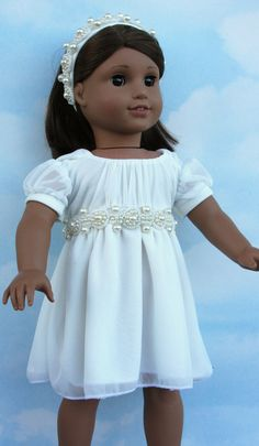 18 American Girl Doll Ivory Gala Dress with Pearl by SewLikeBetty