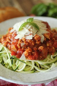 Crockpot Bolognese Turkey Meat Sauce with Zucchini Pasta!  Clean Eating, Low Carb, Crockpot, Gluten Free, Allergy & Paleo Friendly!