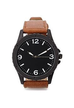 Faux Leather Analog Watch   21 MEN - 1000133290