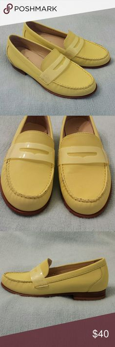 Cole Haan 'Monroe' Penny Loafer A  fun pop of color in a classic, comfortable Cole Haan penny loafer featuring a leather upper, leather lining, Nike air technology, manmade sole,  lightly padded footbed and a stacked heel.  True to size, not appropriate for a larger or wide size 6.  Excellent used condition. Shoes Flats & Loafers