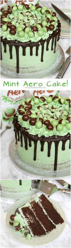 Mint Aero Cake! ❤️ A Three Layer Chocolate Mint Sponge, with Mint Buttercream Frosting, Dark Chocolate Drip, and Mint Aero Bubbles Galore! Baking Recipes, Cake Recipes, Dessert Recipes, Mousse Au Chocolat Torte, Janes Patisserie, Mint Cake, Occasion Cakes, Drip Cakes, Mint Chocolate
