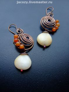Copper earrings with aventurine and agate by Jacozy