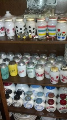 collection of Fire King range shakers from the 1940's
