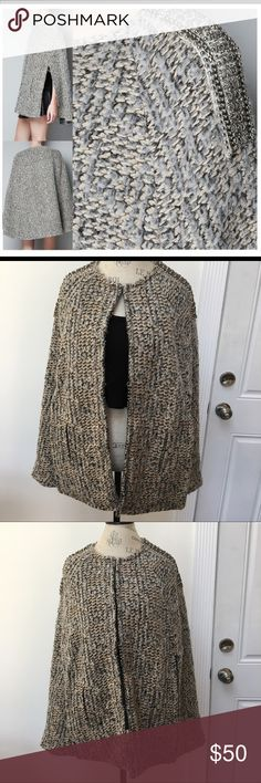 ZARA Knit Jeweled Cape Zara Jeweled shoulder cape. Right side of shoulder is missing some beads (as pictured) Cape has a few small pulls throughout but you can hardly tell due to the type of fabric it is. has three front clasps in the front (as pictured) and faux pockets in the front. I wore this mostly in the Fall and it was my favorite piece because it's so unique and reminded me of the 40's! Zara Jackets & Coats Capes