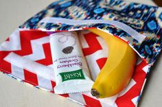 school snack bag -- great use for leftover laminated cotton