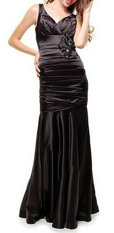 1930 s Style Black Ruched Tank Rose Prom Gown - XS to 4X - Unique Vintage - a5f0840e7859