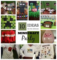 *Rook No. recipes, crafts & whimsies for spreading joy*: 10 Ideas for the Ultimate Minecraft Birthday Party Minecraft Party Supplies, Minecraft Birthday Party, Boy Birthday Parties, Birthday Ideas, Minecraft Ideas, 7th Birthday, Minecraft Stuff, Fete Laurent, Mindcraft Party