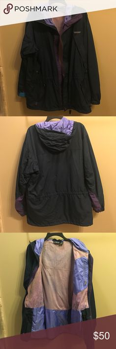 Vintage 90s Patagonia Nylon Jacket Size Medium, can fit as a Large. Good condition. Purple navy blue. There's a tiny hole and another sewn hole (in the last pic) Patagonia Jackets & Coats