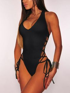 06b7c43b9c Side Lace up Halter One Piece Swimwear One Piece Swimsuit