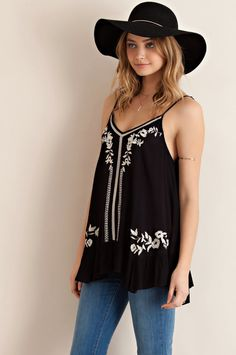 Ruffled Tank with Embroidery