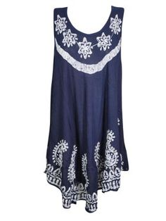 Mogul Womens Dark Blue Batik Embroidered Tank Dress Sleeveless Flare Hem Beach Wear Cover Up Sundress L