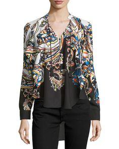 5Twelve Long-Sleeve Print Blouse, Black/Multi  New offer @@@ Price :$98 Price Sale $59
