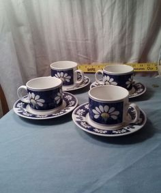 "Oneida Kitchen Spring Daisy 8 oz  Coffee/Tea Cup & 6 "" wide Saucer set of 4  #Oneida"