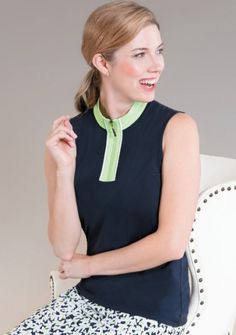 If you're in the market for some new outfits, consider our women's apparel! Shop this comfortable and stylish MONTAUK (Midnight Navy) Sport Haley Ladies Beth Sleeveless Solid Golf Shirts from Lori's Golf Shoppe.