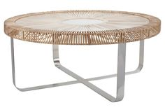 "$1099 40""round Louisa Rattan Coffee Table"
