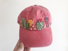 Really love this, from the Etsy shop ChoctawTori. 2019 clothing clothing labels clothing patches clothing wholesale flower clothing fly shirts shirts for ladies shirts sunshine coast style clothing tee shirts clothing Sommer Garten Hochzeits Kleider Embroidered Cactus, Custom Embroidered Hats, Cactus Embroidery, Hat Embroidery, Embroidered Baseball Caps, Embroidered Clothes, Silk Ribbon Embroidery, Learn Embroidery, Bone Floral