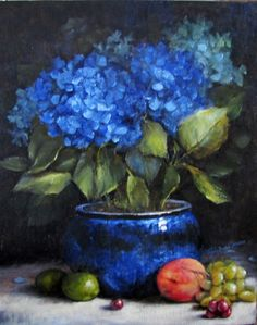 Blue - Azul - flowers - flores - natureza morta - painting - pintura - Rhapsody in Blue by Trudy Beard