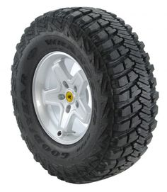 The Wrangler MT/R with Kevlar is Goodyear's first off-road tire to incorporate DuPont™ Kevlar®,  an innovative material that's, pound for pound, five times stronger than steel.  The Innovative use of Kevlar brings superb sidewall cut and puncture resistance to an area of the tire that demands extra toughness when driving off-road.  It also helps reinforce the sidewall for when driver's return to pavement. <b>No longer available with outlined white letters, black wall only.</b>