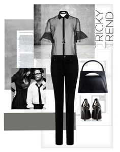 """""""Sheer blouse 635"""" by mykt ❤ liked on Polyvore featuring Dansk, Chanel, J.W. Anderson, Delpozo, MANGO and Bulgari"""