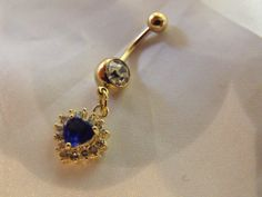 Deep Blue Sapphire Topez Heart 18k Gold Plated by AGothShop, $18.00