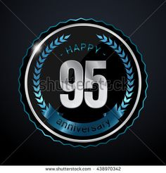 95 Years Silver anniversary logo, low poly design number