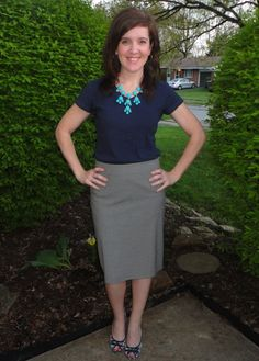 HK Style Journey Blog: navy blue t-shirt, grey skirt, turquoise bubble necklace, floral shoes, outfit, work outfit