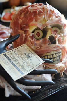 halloween cheese and meat head.