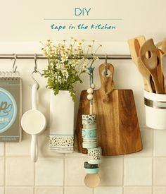 washi tape storage—on a hanging wood spoon!