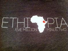 Ethiopia Adoption T-Shirt - Five Million Minus Two. $19.00, via Etsy.