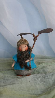 Puck the needle felted Acorn Gnome 3 inch by FairyfeltbySiSo