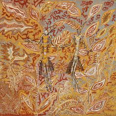 Mary Punchi Clement - 'Kira Kiro figures Bush Walking', 2012 - 60 x 60 cm - Natural ochre and pigments on canvas - Ref. k121011 - IDAIA - International Development of Australian Indigenous Art © The Artists - Photos Courtesy of Waringarri Aboriginal Arts