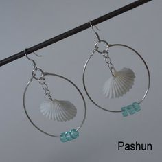 Seashell Jewelry ... White Pecten Shell Hoop Earrings (0417) via Etsy